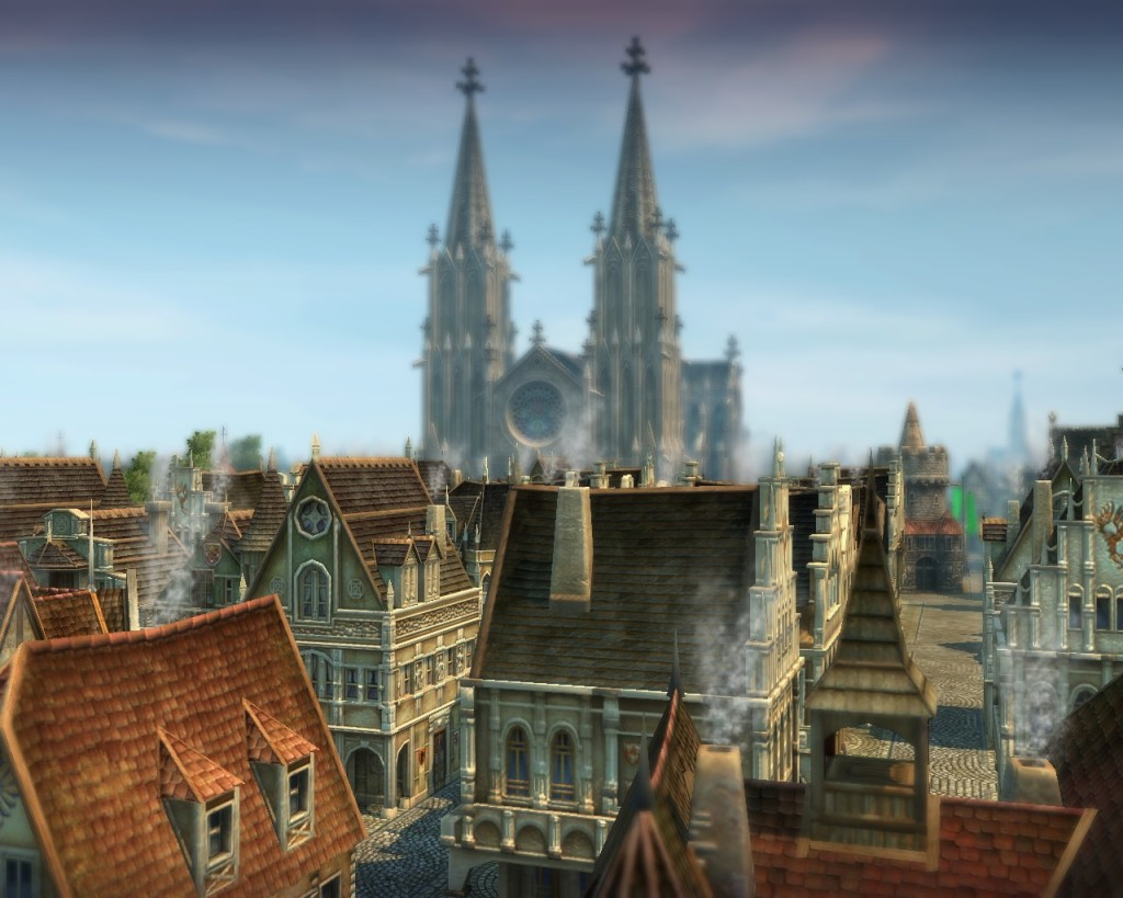 The Emperor's Cathedral, the occcident's religious monument, looms over Goldfurt.